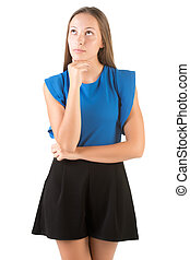 Woman Thinking - Woman thinking in a white background