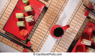 Fresh Sushi For Two Persons - Fresh rolls on the plate for...