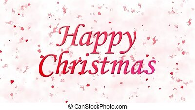 Happy Christmas text turns to dust from bottom on white animated background