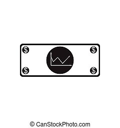 Flat icon in black and white financial report - Flat icon in...