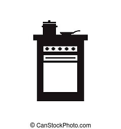 Flat icon in black and white kitchen stove