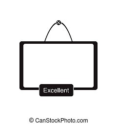 Flat icon in black and white interactive board - Flat icon...
