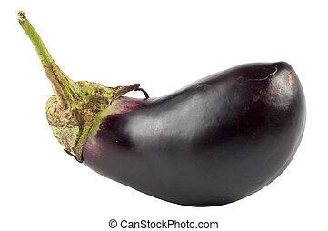 Egg-plant aubergine isolated over white background macro...