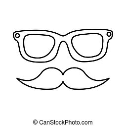 eye glasses and mustache hipster style icon vector...