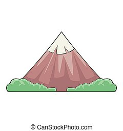 The sacred mountain of Fuji icon, cartoon style