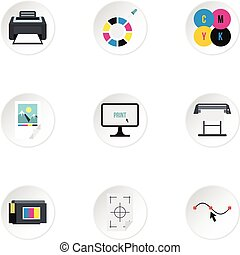 Printer icons set, flat style - Printer icons set. Flat...