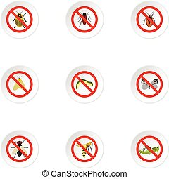 No insects icons set, flat style - No insects icons set....