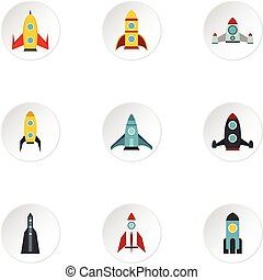Flight in cosmo icons set, flat style - Flight in cosmo...
