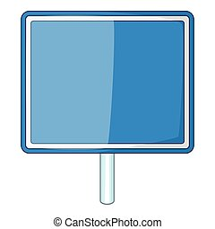 Blank blue road sign icon, cartoon style