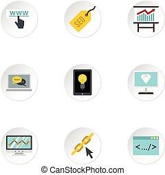 Promotion icons set, flat style - Promotion icons set. Flat...