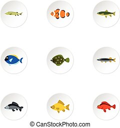 Species of fish icons set, flat style - Species of fish...