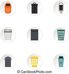 Rubbish bin icons set, flat style - Rubbish bin icons set....
