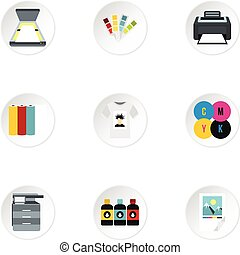 Printing services icons set, flat style - Printing services...