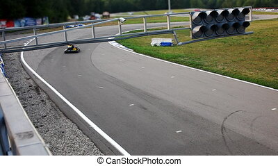 carting race with cars sequence shot