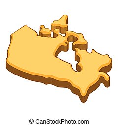 Canada map icon, cartoon style