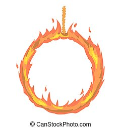 Ring of fire icon, cartoon style - Ring of fire icon....