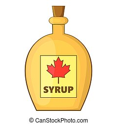 Bottle of maple syrup icon, cartoon style - Bottle of maple...