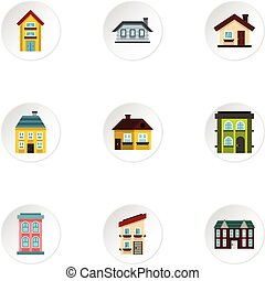 Habitation icons set, flat style - Habitation icons set....
