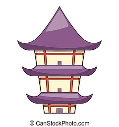 Buddhist temple icon, cartoon style - Buddhist temple icon....