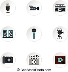 Electronic equipment icons set, flat style - Electronic...