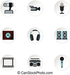 Communication device icons set, flat style