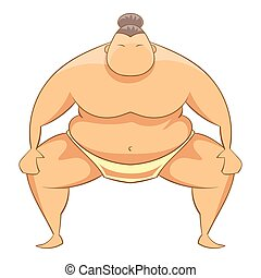 Sumo wrestler icon, cartoon style