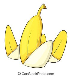 Banana peel icon, cartoon style - Banana peel icon. Cartoon...