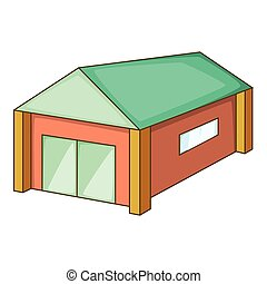 Garage with a green roof icon, cartoon style