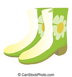 Green rubber boots icon, cartoon style