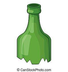 Broken bottle icon, cartoon style - Broken bottle icon....