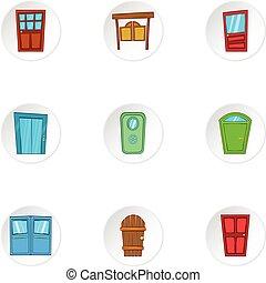 Front door icons set, cartoon style - Front door icons set....
