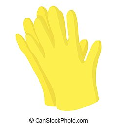 Garden gloves icon, cartoon style - Garden gloves icon....