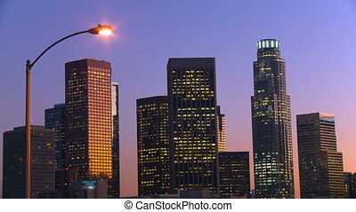 DTLA Skyline Time-lapse - Day to night time lapse view of...