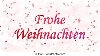 "Merry Christmas text in German ""Frohe Weihnachten"" turns to dust from bottom on white animated background"