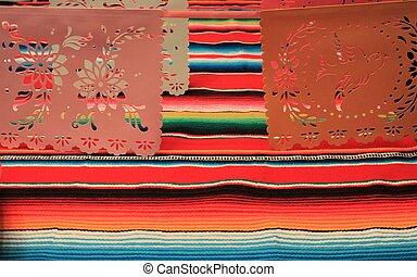 Mexico poncho sombrero skull background fiesta cinco de mayo decoration bunting