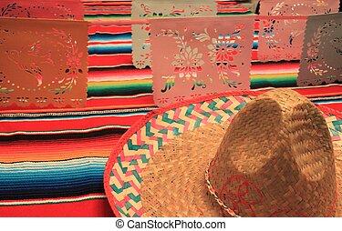 Mexico poncho sombrero background fiesta cinco de mayo...
