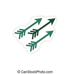 paper sticker Indian arrows on white background
