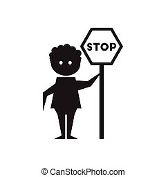 Flat icon in black and white man stop sign