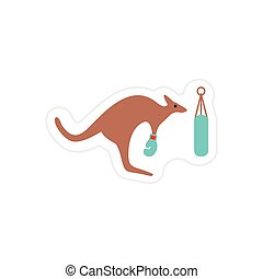 stylish paper sticker on white background kangaroo boxe