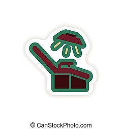 paper sticker on white background gynecological chair