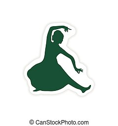 paper sticker Indian dancer on white background