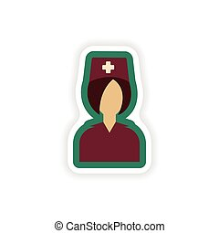 paper sticker on white background nurse medical