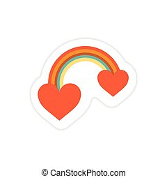 paper sticker on white background rainbow heart