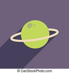 Flat web icon with long shadow planet