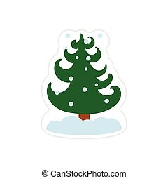 paper sticker on white background snow tree