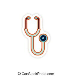 paper sticker on white background medical stethoscope