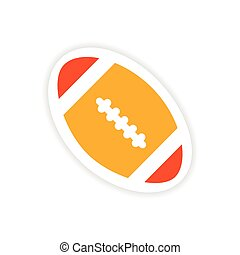 paper sticker rugby ball on white background