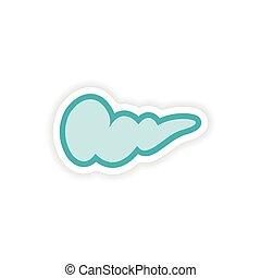 paper sticker on white background human gall bladder
