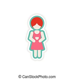 paper sticker on white background expectant mother