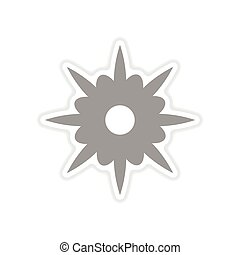 paper sticker on white background flower silhouette - paper...